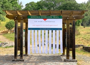 The Kiosk sported fluttering streamers with the over 400 names of individuals and organizations that supported this renovation project.