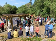 Nearly 100 people gathered at the Trailhead Kiosk to honor the people and volunteers that made this possible.