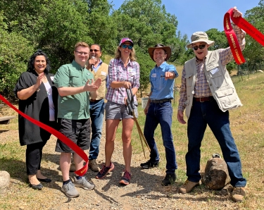 There was an enthusiastic ribbon cutting ceremony—Let the Hikes Begin! Rebecca Hermosillo for Congressman Thompson, Ezra Chabaan for Senator Dodd, Marcelo DeFreitas on behalf of Sonoma Alcaldessa Karen Collins, Amy Harrington Sonoma Mayor, Richard Dale Sonoma Ecology Center, Bill Wilson Project Manager.